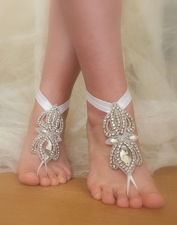 Rhinestone anklet  Beach wedding barefoot sandals by WEDDINGGloves, $45.00