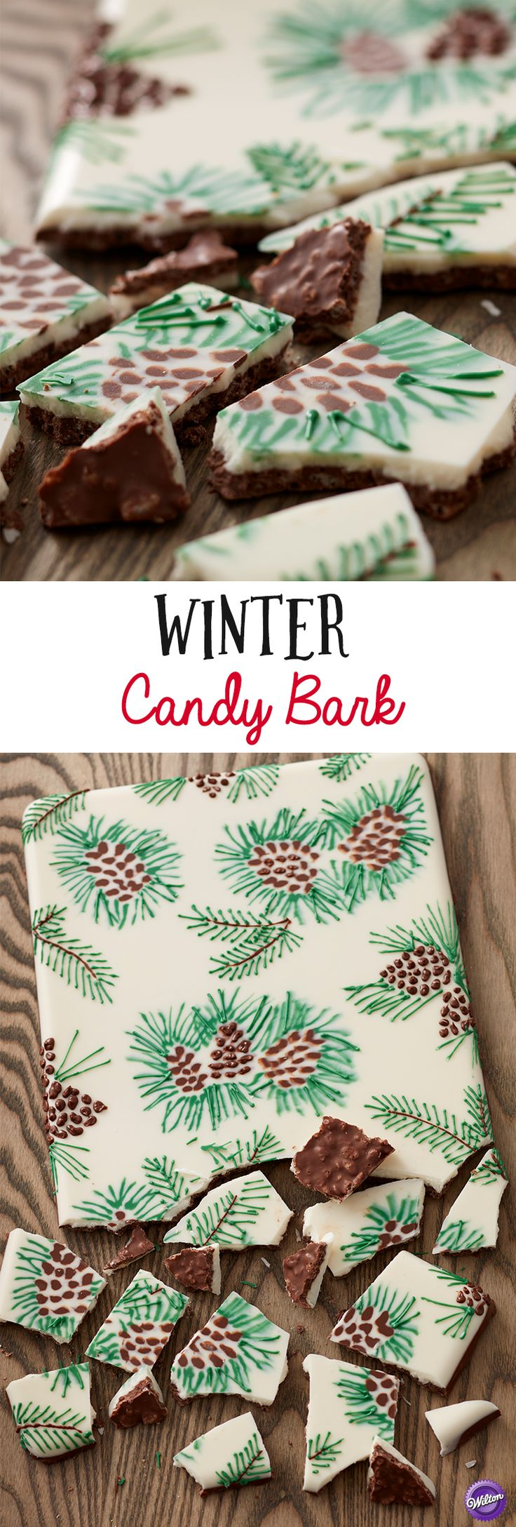 Crispy Pine Winter Candy Bark - A fun and whimsical winter treat, this Crispy Pine Cone Bark is a lovely and tasty sweet that's great for gift-giving! Made using Candy Melts candy and crispy rice cereal, this candy bark not only has a lovely pattern, but a crispy candy layer that's sure to please. Pipe the pine cone pattern directly on a cake pan and then layer melted candy on top to reveal an amazing design once unmolded.