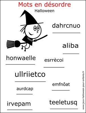 jeu halloween jeu de lettres halloween jeu de mots halloween remettre les mots dans l'ordre