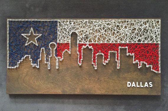 Custom Dallas Skyline String Art Texas by CactusCustomDesigns