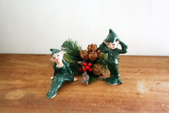 vintage 50s Christmas Elves Holiday Decor by littleveggievintage, $28.00
