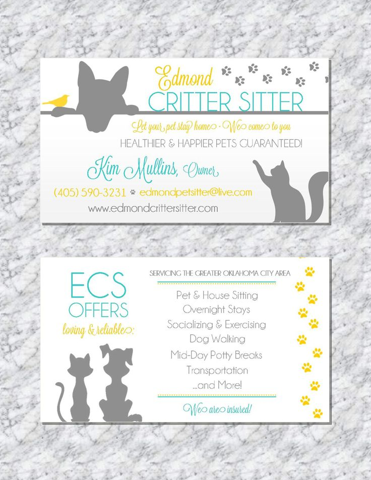 Modern pet sitting business cards by Trusner Designs. Visit us on Facebook to see much more and to request a custom price quote for your business or event!