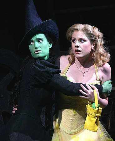 Idina Menzel (Elphaba) and Helen Dallimore (Glinda) in the original West End production.
