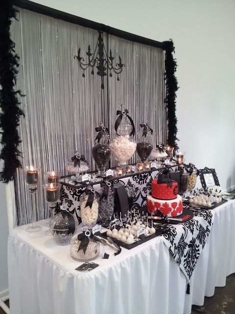 Black and white with a touch of red lolly buffet birthday - Black silver and white party decorations ...