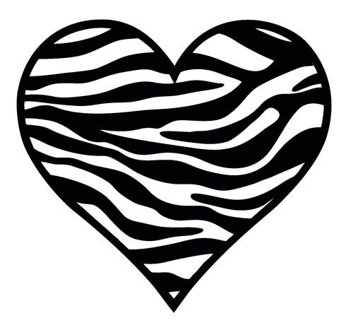 Zebra Pattern HEART Wall Car Decal Sticker Highest