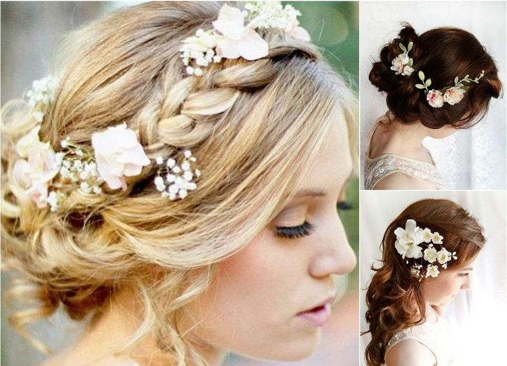 Свадебные прически с цветами 2016