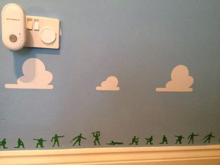 Green Army Soldiers along the skirting boards. Toy Story Bedroom.