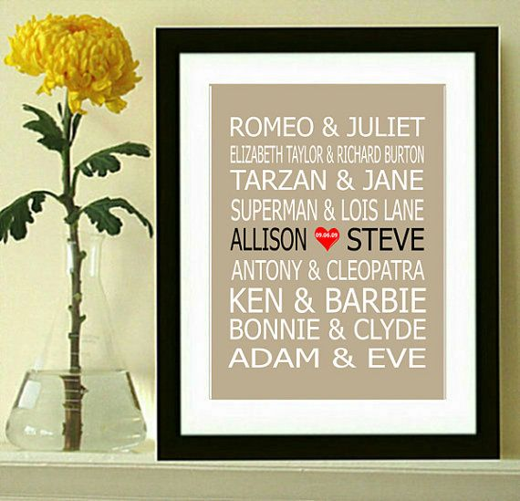 Famous Couples Print, Couples Art, Personalized Couples Gift, Custom Wedding Gift, Bridle Shower Gift on Etsy, $10.00