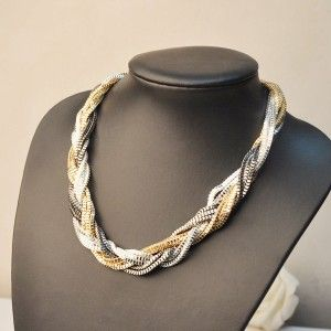 Three Colors Mix Twist Biker Punk Chain Bib Necklace