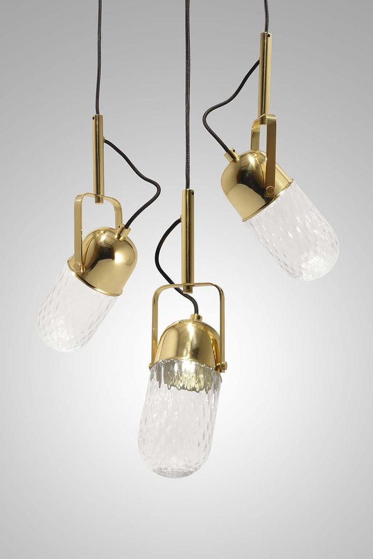 MIC P03 by Jorge Lourenço  #Handcrafted in Portugal, this 3 #Lights #vintage #microphone light fixture is unique and beautiful with a twist. The Mic Pendant Light made in manual blown #glass with optic diamond effect in transparent and polished brass metals.