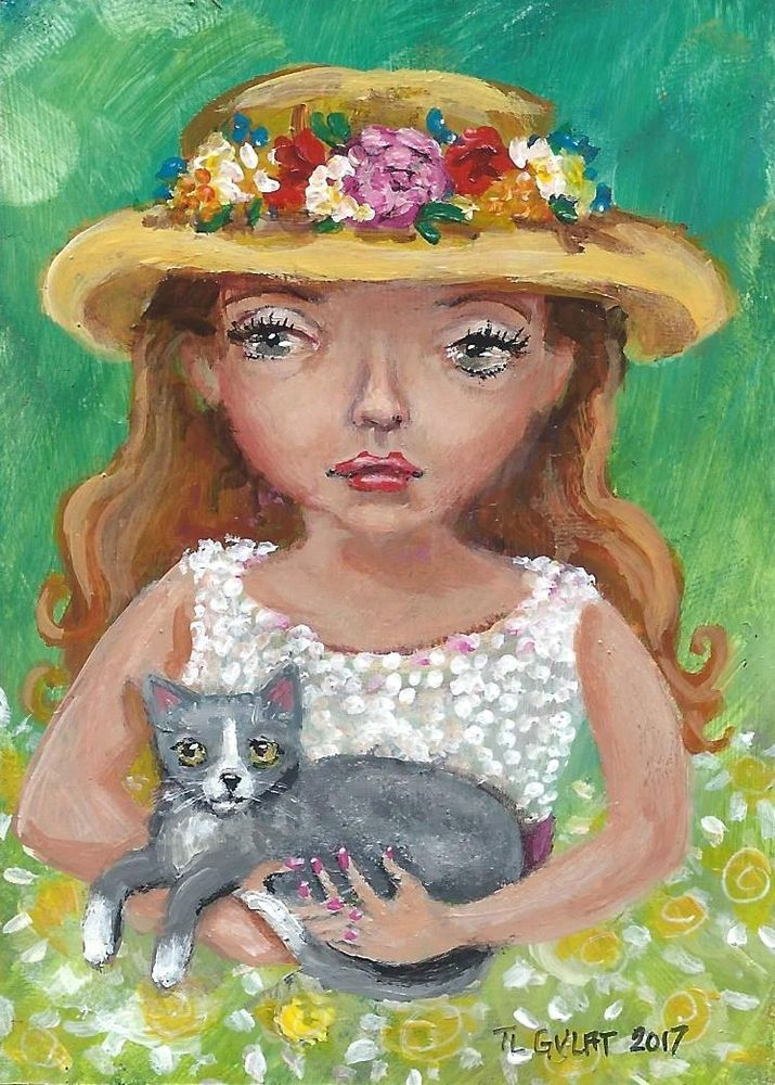NFAC ACEO Original Miniature Acrylic Painting Girl Cat Flowery Hat Gulat  #ModernFolkArtOutsiderArt