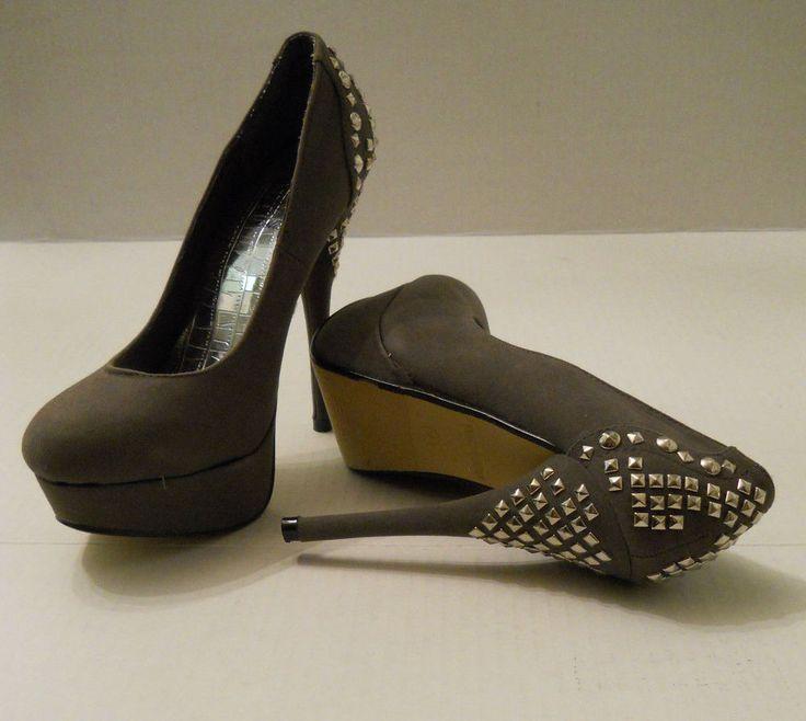 """Womens  STILETTOS Studded Size 7 Grey RCK  BELLA Imitation Suede 5"""" Evening Wear #RCKBELLA #Stilettos #Clubwear"""