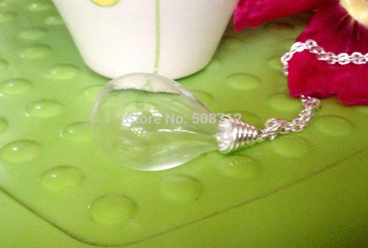 Стекло глобус ожерелье своими руками комплект - 24  посеребрение цепь и кепка и 18 x 30 мм круг база капля воды прозрачное стекло глобус
