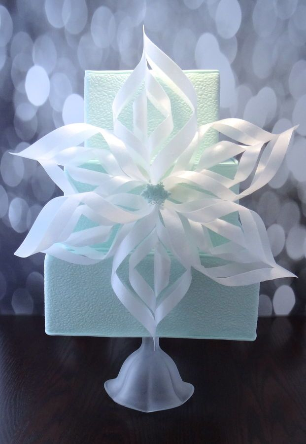 """""""Ice and Snow"""" ~ Cracked ice texture and wafer paper snowflake ~ edible and lovely!"""