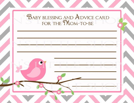 Bird Baby Shower Advice Card For The Mom To Be DIY By Nslittleshop, $3.00