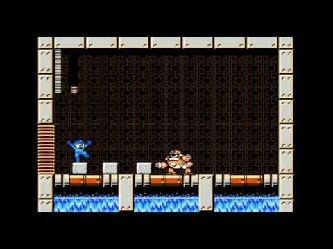 Concrete Man from Mega Man 9, defeated by steg140. Use the Laser Trident to answer Concrete Man's barrage of concrete blocks.