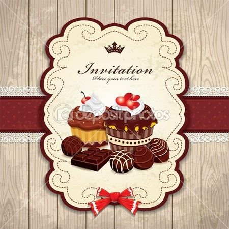 Quadro vintage com modelo de bolo de chocolate — Ilustração de Stock #19921247