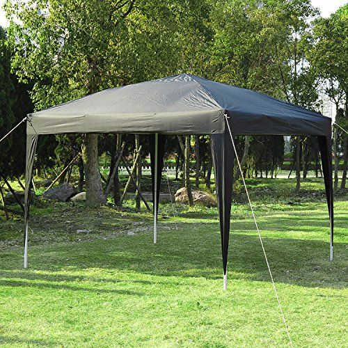 Outsunny 3 x 3M Garden Heavy Duty Pop Up Gazebo Marquee Party Tent Folding Wedding Canopy Black UV Protection + Carrying Bag