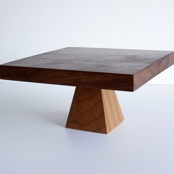 Walnut Pedestal Cake Stand by craftcollective on Etsy, $35.00