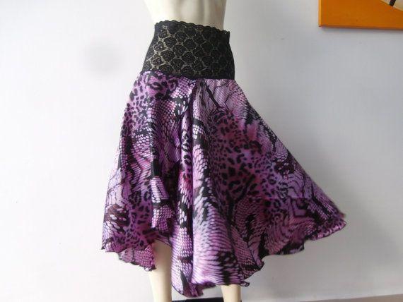 High Slit  SATIN Argentinian Tango Bell Skirt by COCOsDANCEWEAR