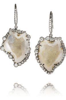 Kimberly McDonald18-karat white gold diamond and geode earrings