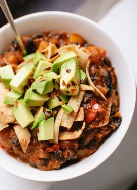 Vegetarian chili. Made this yesterday...must save the recipe!