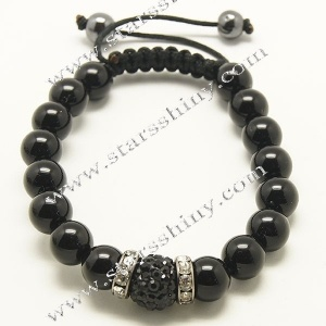 Shamballa Bracelet, 10mm round black jade beads, adjustable.        Item No.:SN014746      Shop price: US$2.54 - US$2.99