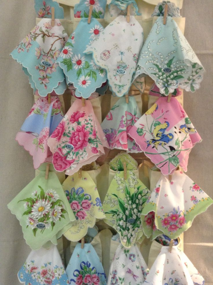 Hankies hung hung with little clothespins on a pocket shoe holder