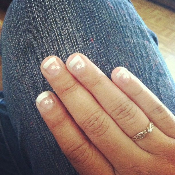 Finally gettin my nails to grow out! ;)  #project365 #day56 #nails #frenchmanicure #stars #diamondring Click the link for engagement rings sales.  http://www.bestpriceengagementrings.net