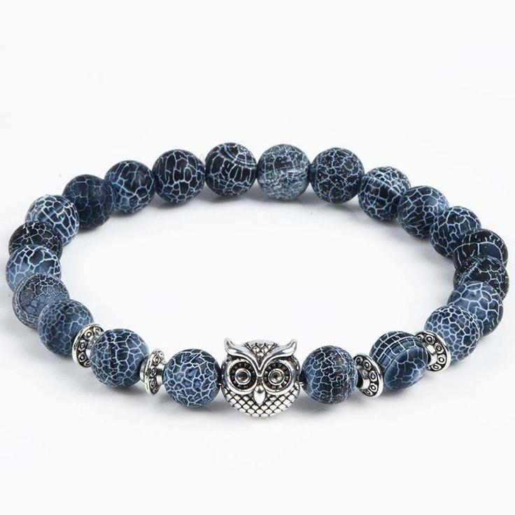 Stone bead bracelet with an owl, lion or leopard head