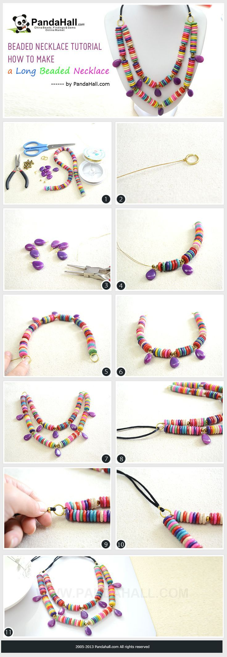 The 73 best diy necklace images on pinterest diy collares diy beaded necklace tutorial howto make a long turquoise bead necklace in 3 steps mozeypictures Images