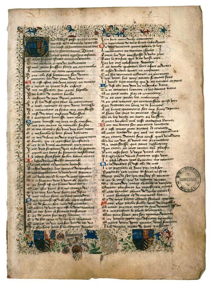 Le manuscrit est l'œuvre du poète Charles d'Orléans et sa troisième épouse Marie de Clèves a intégré dans cette page ses armoiries et ses devises. Carpentras, Bibl. mun., ms. 375, f. 2
