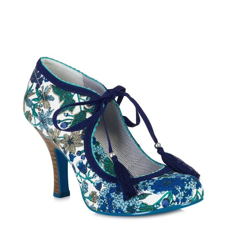 Ruby Shoo Willow White and Blue Floral Print Ribbon Tie Court Shoes