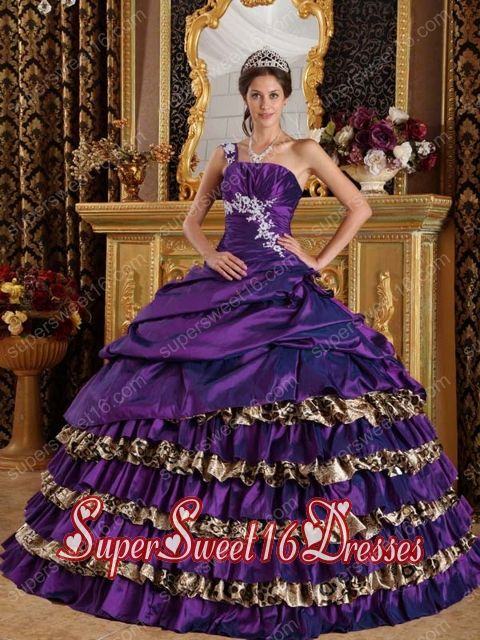 Appliques Ball Gown One Shoulder Taffeta and Leopard Pretty Quinceanera Dresses in Dark Purple