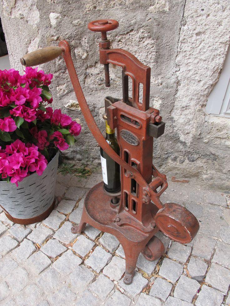 French Cast Iron Wine Bottle Corking Machine, 19th C.