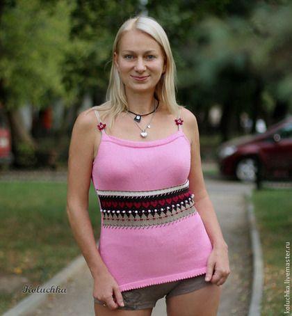 Летний топ с жаккардом - розовый,орнамент,летний топ,вязаный топ,летняя одежда