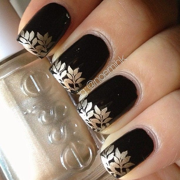 Liquid Leather by China Glaze and used stamping plate W119 by Winstonia with Good As Gold by Essie.