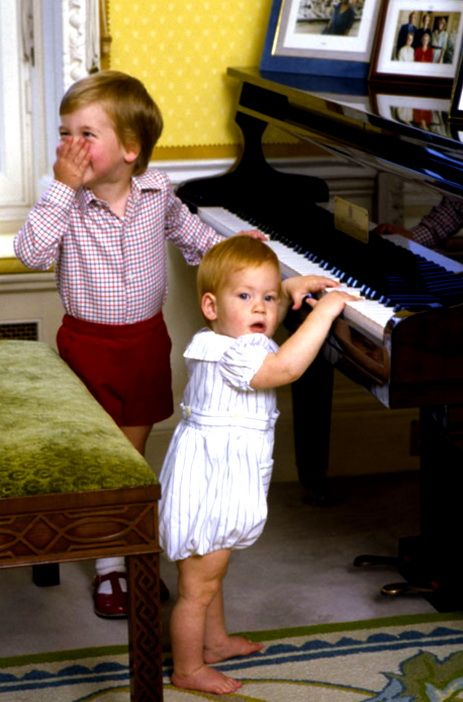 Prince William, Duke of Cambridge (left) with his brother, Prince Harry, (1985) Kensington Palace.