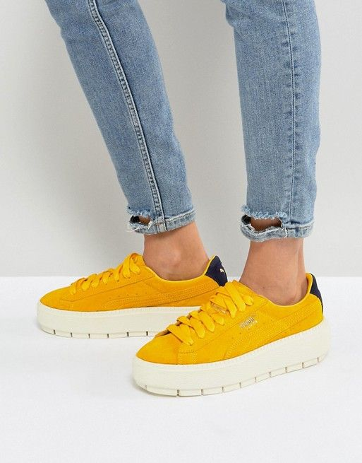 Puma Platform Trace Sneakers In Yellow | Shoes | Baskets à