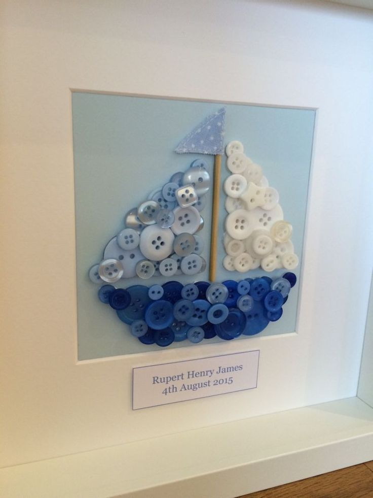 Button Art Boat Personalised Picture Frame Baby Boy Christening Birthday Gift