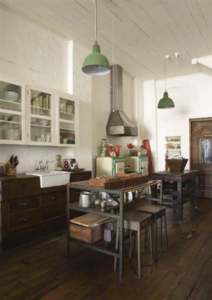 #wooden kitchen floor, industrial pendants & island, white painted #bricks - so much to love