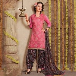 Peach Unstitched Patiala Suit