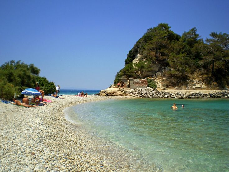 Pebble stone beach near Kokkari village in Samos Greece