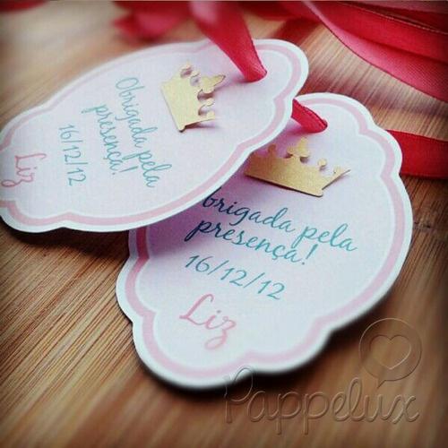 — Aniversário Princesa Tag de lembrancinha, toppers...