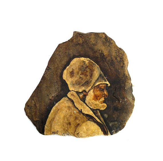 Walter Egel Kuhlman (1918-2009) Attributed Painted Stone Slab Art Portrait of Bearded Man - American Figurative Expressionism