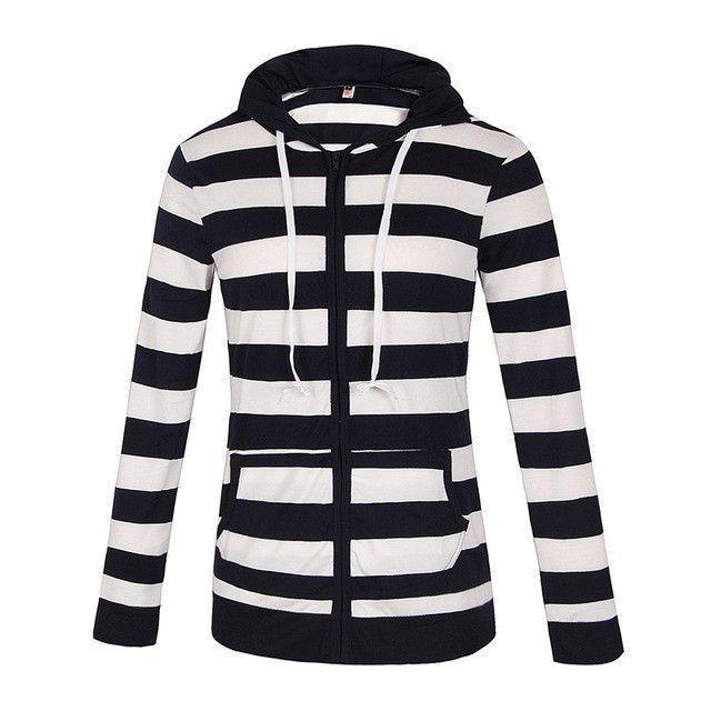 Women'S Fashion Hooded Stripes Casual Zipper Hoodies Pocket Women Sweatshirt Plus Size S-5XL LJ7847R