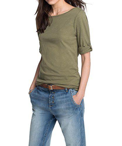 ESPRIT Damen Langarmshirt mit krempelbaren Ärmeln, Einfarbig, Gr. 42 (Herstellergröße: XL), Grün (REED KHAKI 326)