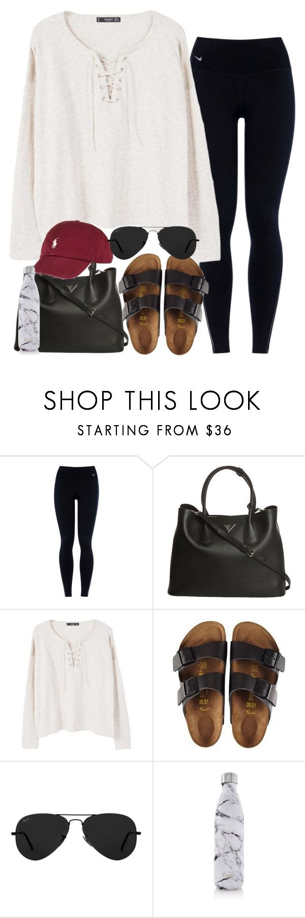 """""""Untitled #294"""" by valerienwashington ❤ liked on Polyvore featuring NIKE, Prada, MANGO, Birkenstock, Ray-Ban and S'well"""