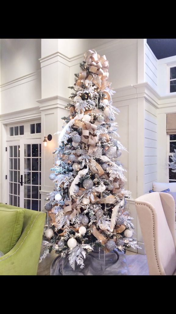 "White flocked tree from Stage of ""QVC"" ""A Lisa Robertson Christmas"" 2014"