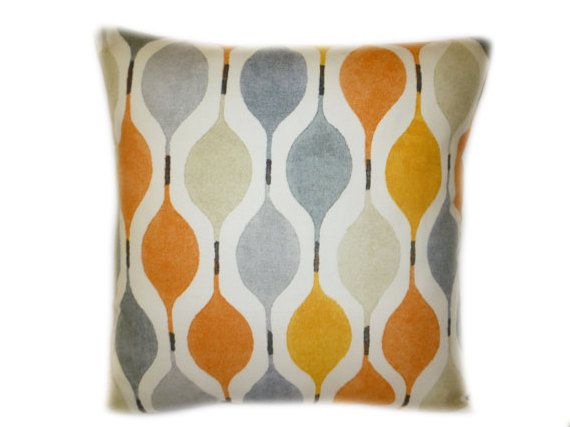 """Orange Gray Designer Cushion Cover Throw Scatter Pillow. ONE x 16"""" (40cm) color choices"""